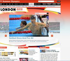 IMG411: In this screenshot of the ESPN Olympics homepage, American swim sensation, Michael Phelps, is featured three times. Each image of him also has an American flag, which reflects an extreme national pride stemming from the numerous successes in this year's Olympic games. On the other hand, there is only one more image on this screenshot and it is depicting the Chinese Badminton team's cheating scandal. michael phelp