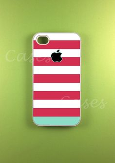 Iphone 4 Case - Pink Blue Strip Iphone Case,Iphone 4s Case   OoOh a black and white one would be cool!