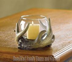 Brand New Country Cabin Decor Rustic Woodsy Antlers Glass Votive Candleholder