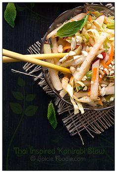 Thai Inspired Kohlrabi Slaw Recipe    #vegetarian #kohlrabi #coleslaw
