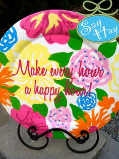 14 Lilly Pulitzer inspired Plate with Happy Hour Quote for Gifts, Decor. $36.00, via Etsy.