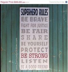 ON SALE - Superhero Rules Sign - Typography Word Art perfect for your little boy