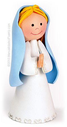 Virgen maria en foamy  - UTILIZAR OS CONES DE BARBANTE!