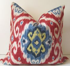 Ikat Pillow - Decorative pillow - 20 inch - Ubud Gem - Iman - red - blue - navy - yellow - ready to ship. $48.00, via Etsy.