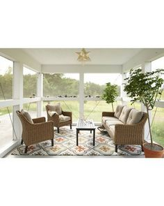 Perry 4-Piece Seagrass Wicker Patio Conversation Furniture Set