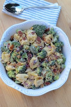 Tortellini Broccoli Salad with a lightened up creamy balsamic dressing.