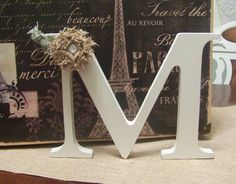 "Wedding Monogram Letter ""M"" with Burlap Fabric Flower"