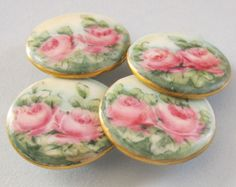 beautiful vintage porcelain buttons with pink roses