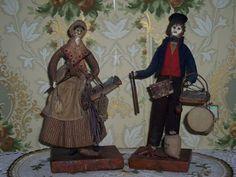 MUSEUM QUALITY Antique English Peddler Dolls (Whites) - All Original - Circa 1820's!