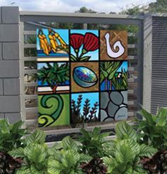 Outdoor Art. Nine Icons on Gloss Panel 840 x 840mm Email: sarah@sarahcdesign.co.nz to purchase or see www.sarahcdesign.co.nz for more info.