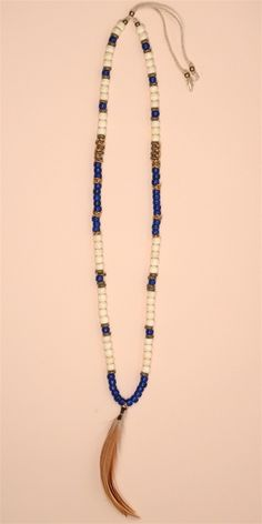 Cobalt Crow Bead Leather Necklace - Gold ( Style # N371.CBL )All Jewelry and Accessories are Final Sale.