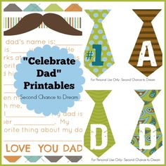 """Second Chance to Dream: Ideas to  """"Celebrate Dad"""" #freeprintables #fathersday"""