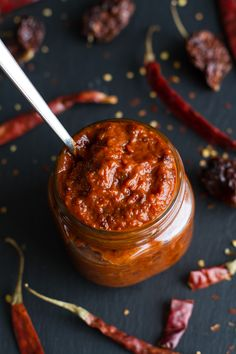 Homemade Harissa (Spicy Red Pepper Sauce) -- awesome with eggs, chicken, just about anything