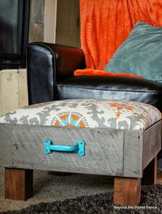 Upcycle a Drawer to make an ottoman. So Clever! Love it!