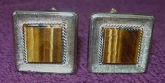 Goldwashed Sterling and Tiger's Eye Cuff Links by hatstoflats, $99.00