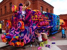 Yarn-Bombed Four-Car Locomotive Explodes with Color - My Modern Metropolis