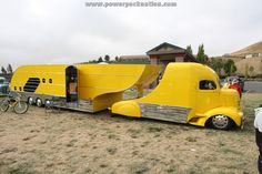 Vintage COE truck and custom trailer... ride, car, camper, trailer, toy, old trucks, wheels, yellow, hot rods