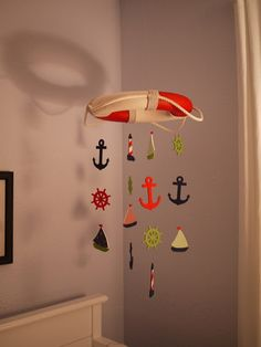 Cute mobile for nautical themed nursery @Stephanie Close 'King' Abbott - thought of you and your little guy!