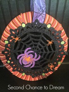 Second Chance to Dream: Dollar Store Halloween Wreath . Make this cute wreath for  under $6.00! #halloween #dollarstore