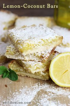 Lemon Coconut Bars.  These taste like summer on a plate!