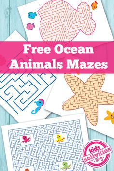 Free Ocean Animals Printable Mazes for Kids #worksheets #preschool #mazes