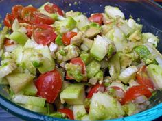 Cucumber Avacado Salad.. I'm so glad I saw this on pinterest! Tried it out. Added shrimp. Amazing. ;)