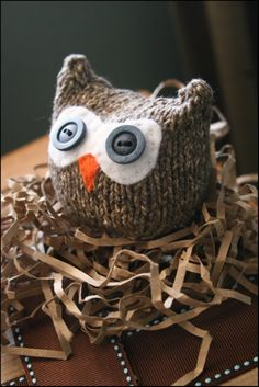 Knitted owl by Ana Clerc, pattern found here: http://www.ravelry.com/patterns/library/owls-two-ways-knit