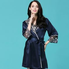 Heavy JESSIY 100% silk lace Embroidered silk hanging robes two-piece suit women's nighty night gowns