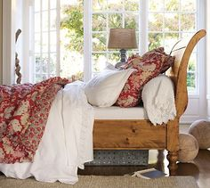Ashby Sleigh Bed - Rustic Pine finish #potterybarn