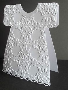 Handmade greeting card: baby christening or little girl ... shaped card ... luv how the embossing folder design fits into the dress ... Stampin'Up!