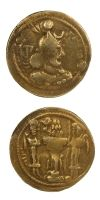 "Gold dinar coin of Yazdgard I. Obverse: Bust wearing a headdress. Reverse: Fire altar with attendants.  Size: 1""  Date: 399-420 AD"