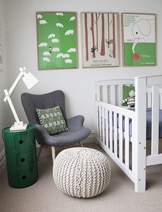 Love the colours. Grey chair and side table/mini drawers (in white) would also be great in boy's room.