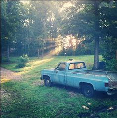 Old blue Chevy truck