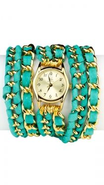Small Face, Lamb Leather Wrap Watch - Turquoise