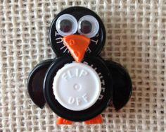 Vial Top penguin Badges Clips | Penguin ID Badge Holder - made from sterile IV vial tops ...