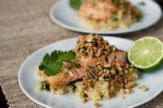 Baked salmon with a peanut-cilantro relish