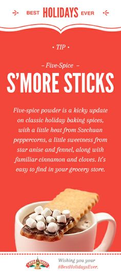 Five-Spice S'More Sticks and more easy holiday recipes. #BestHolidaysEver