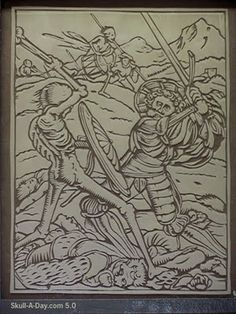 "Hans Holbein's ""Dance of Death"" woodcut series that features skeletons as death in every image."