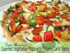 Papa Murphys Copy-Cat Gourmet Vegetarian Pizza with Creamy Garlic Sauce- this pizza is delicious! Even meat lovers love it. :) SixSistersStuff.com #pizza #recipe