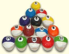 pool theme, cupcak fun, cup cake, decorated cakes, decor cake, billiard themed cupcakes, husband birthday