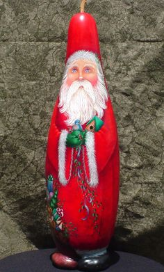 Berry Red - Hand Painted Santa Gourd.