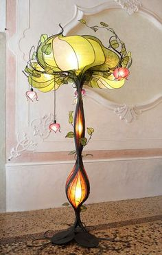 """Lampada Albero""--Lamp in wrought iron and mulberry paper.  Gorgeous."