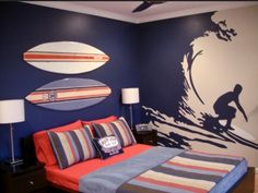 surfing murals | Surfer Theme Wall Murals for Bedroom |
