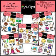 Vowel Teams - Long e Clip Art Bundle from Educlips on TeachersNotebook.com -  (110 pages)  - Vowel Teams - Long e Clip Art Bundle