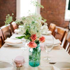 lace centerpiec, blue mason jars, rustic flower