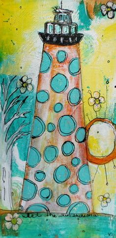 Beach House Art Lighthouse acrylic painting in yellow and aqua by Jodi Ohl