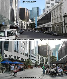 Auckland NZ. It's truly remarkable just how much change there has been turning a street that was focused on the storing and moving of cars to one that is about the people. The benefit of this to local businesses is  substantially higher than that of the lost carparking