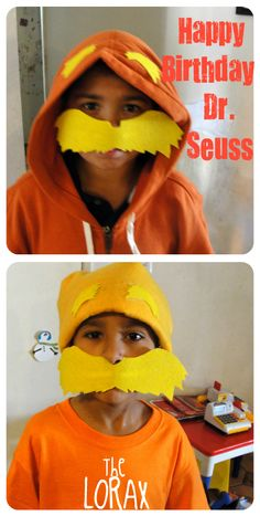 I made the boys a  Lorax costume for Dr. Seuss' Birthday!