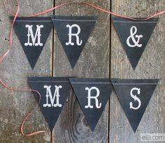 Free Printable Chalkboard 'Just Married'/ 'Mrs and Mrs' Banner
