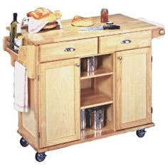 Napa Solid Wood Natural Finish Rolling Kitchen Center, (kitchen cart, kitchen island, storage cabinets, kitchen storage, kitchen cabinet, cabinets, serving cart, wood kitchen cabinet, wood kitchen carts, wooden cart)